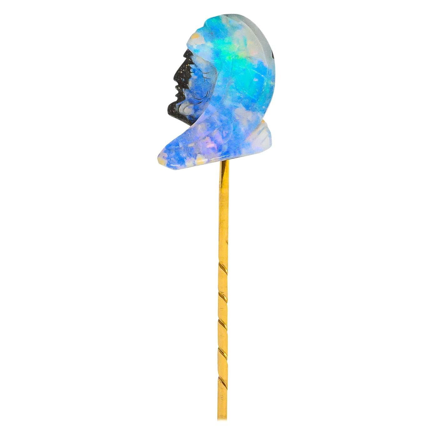 Edwardian Carved Boulder Opal 14 Karat Gold Figure Stickpin