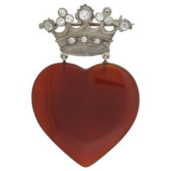 Edwardian Carved Carnelian Heart and Diamond Crown Pin Pendant