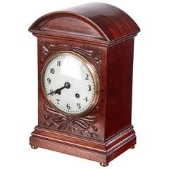 Edwardian Carved Mahogany Mantel Clock