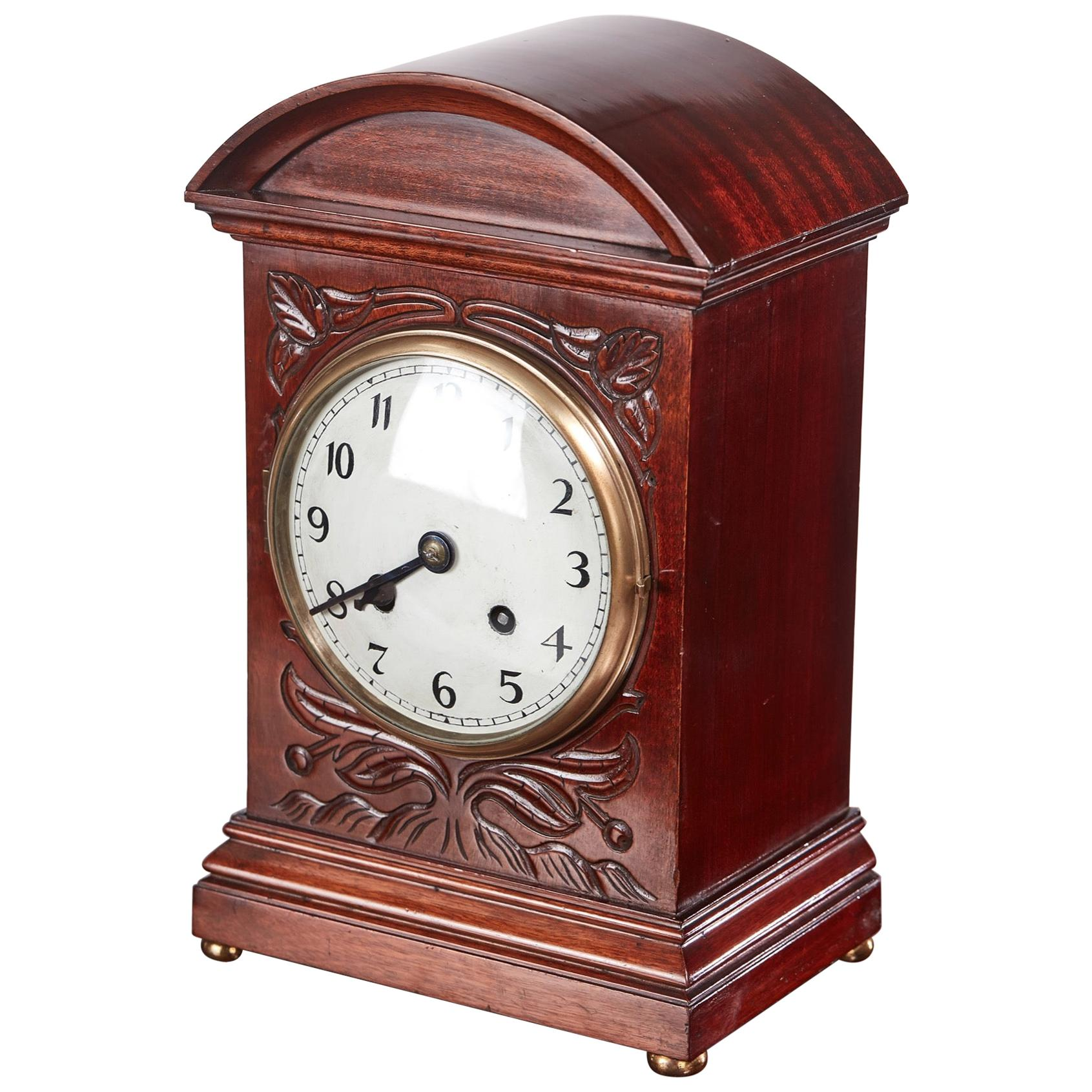 Edwardian Carved Mahogany Mantel Clock