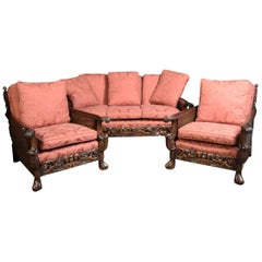 Edwardian Carved Mahogany Three-Piece Bergere Lounge Suite