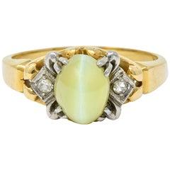 Edwardian Cat's Eye Chrysoberyl Diamond Platinum-Topped 14 Karat Gold Ring