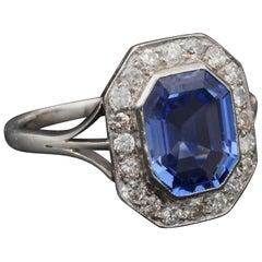 Edwardian Certified 2.70 Carat No Heat Ceylon Sapphire Diamond Platinum Ring