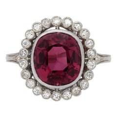 Edwardian Ceylon Pink Spinel and Diamond Coronet Cluster Ring, circa 1910