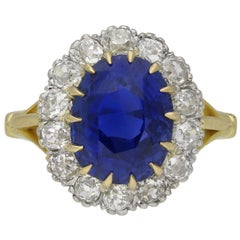 Edwardian Ceylon Sapphire and Diamond Coronet Cluster Ring, English, circa 1915
