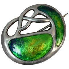 Edwardian Charles Horner Sterling Silver Enamel Art Nouveau Brooch