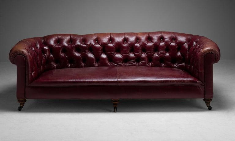 Leather Edwardian Chesterfield Sofa, England, circa 1890 For Sale