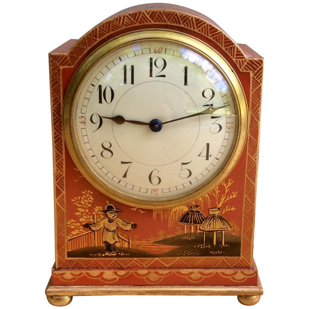 Edwardian Chinoiserie Decorated French Mantel Clock