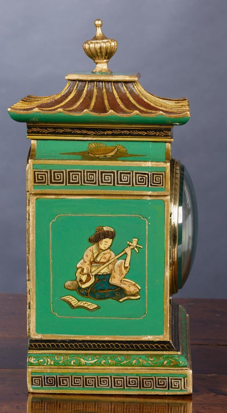 British Edwardian Chinoiserie Decorated Mantel Clock For Sale