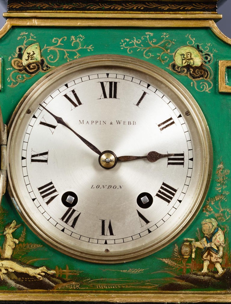 Wood Edwardian Chinoiserie Decorated Mantel Clock For Sale