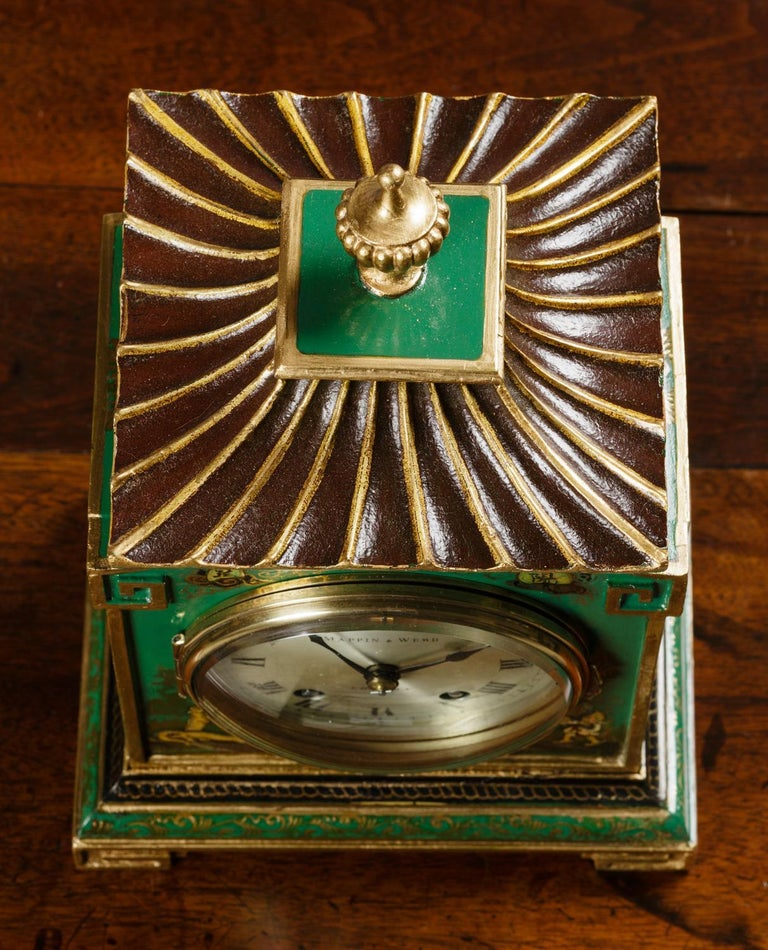 Edwardian Chinoiserie Decorated Mantel Clock For Sale 1