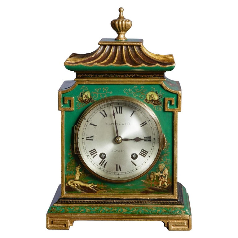 Edwardian Chinoiserie Decorated Mantel Clock For Sale