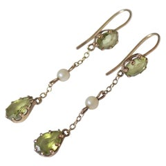 Edwardian circa 1900 Gold Peridot and Pearl Drop Earrings