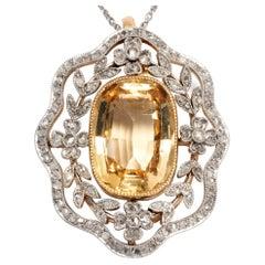 Edwardian circa 1910, Certified 11.2 Carat Topaz and Diamond Pendant Necklace