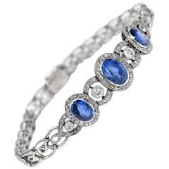Edwardian circa 1910, Certified Untreated 7.05 Carat Sapphire Diamond Bracelet