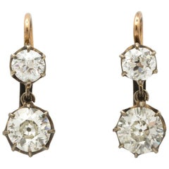 Edwardian circa 1910 Two-Stone Diamond Drop Gold Earrings with French Backs