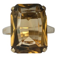 Edwardian Citrine and 9 Carat Gold Cocktail Ring