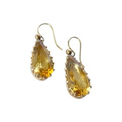 Edwardian Citrine and 9 Carat Gold Drop Earrings