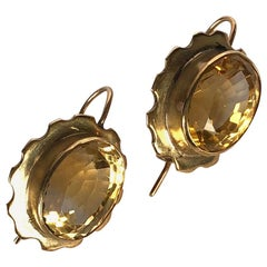 Edwardian Citrine and 9 Carat Gold Earrings