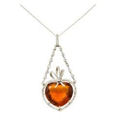 Edwardian Citrine Diamond Platinum Heart Swag Pendant Necklace