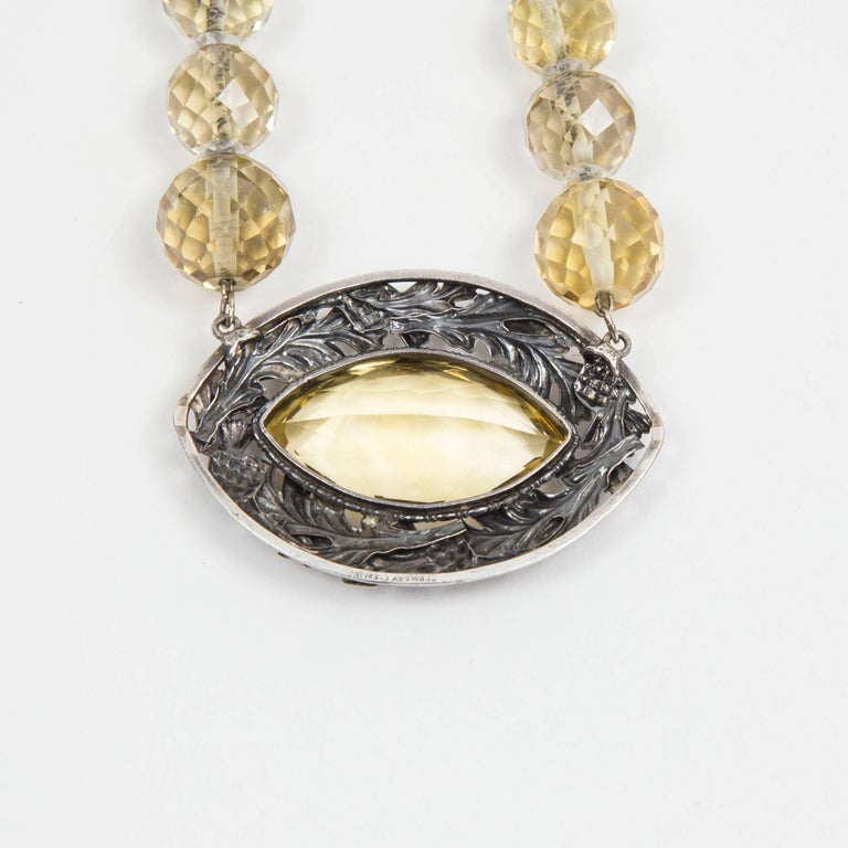 Edwardian Citrine Sterling Silver Necklace Estate Fine Jewelry In Excellent Condition For Sale In Montreal, QC