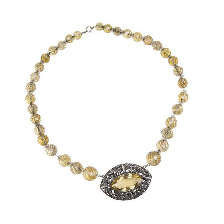 Women's Edwardian Citrine Sterling Silver Necklace Estate Fine Jewelry For Sale