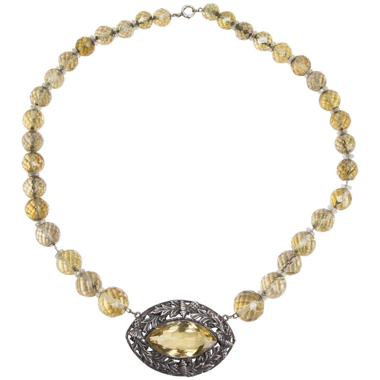 Edwardian Citrine Sterling Silver Necklace Estate Fine Jewelry For Sale