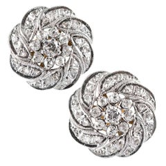 Edwardian Cluster Diamond Stud Earrings