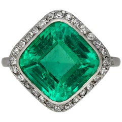 Edwardian Colombian Emerald and Diamond Coronet Cluster Ring, French, circa 1910