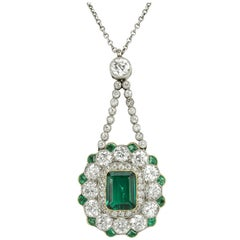 Edwardian Colombian Emerald and Diamond Pendant