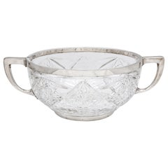 Edwardian Continental Silver '.800', Mounted Cut Crystal Centerpiece Bowl