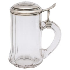 Edwardian Continental Silver '.800' Mounted Glass Drinking Stein With Hinged Lid