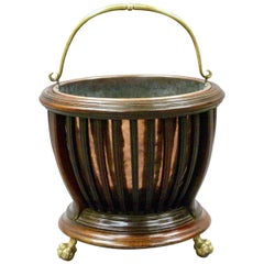 Edwardian Copper Lined Mahogany Bucket