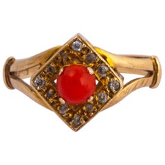 Edwardian Coral and Diamond 9 Carat Gold Ring