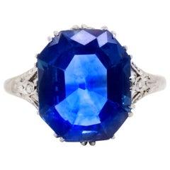 Edwardian Cornflower Blue Natural Ceylon Sapphire 5.85 Carat and Diamond Ring