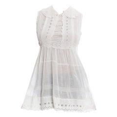 Edwardian White Cotton Eyelet Lace Babydoll Tunic Top