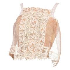 Edwardian Cream Cotton Handmade Lace & Net Cami Top