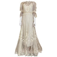 Edwardian Creme Lace Net Blouse and Skirt Set