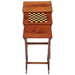 Edwardian Crossbanded Mahogany Nest of 3 Side Tables