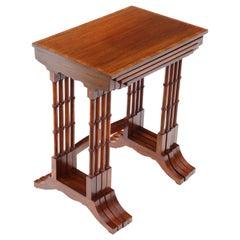 Edwardian Crossbanded Mahogany Nest of 4 Side Tables