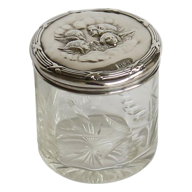 Edwardian Crystal Glass Jar with Art Nouveau Sterling Silver Lid Birmingham 1904