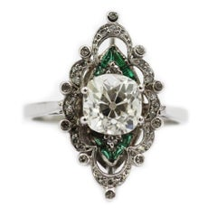 Antique Edwardian Old Cushion Cut Diamond 1.95 ct and Emerald Platinum Ring