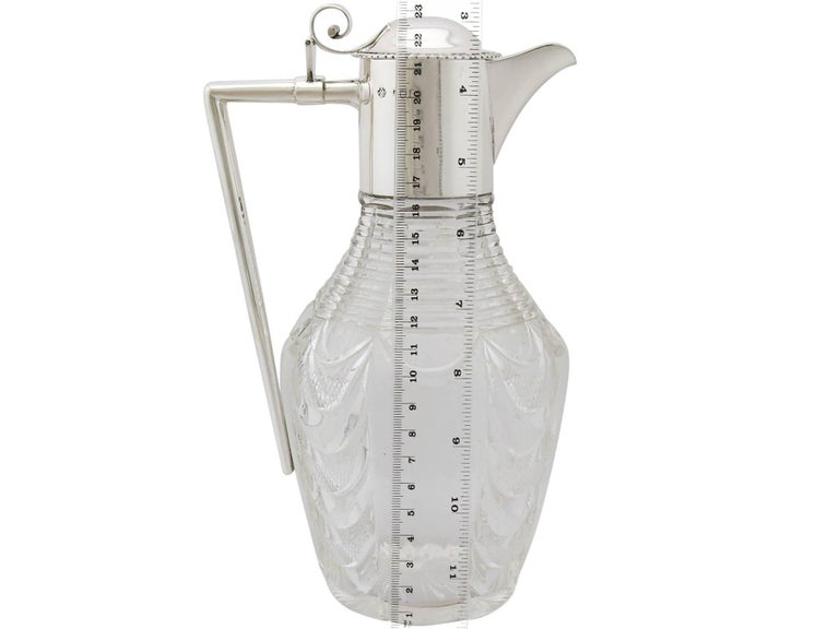 Edwardian Cut Glass and Sterling Silver Mounted Claret Jug For Sale 7