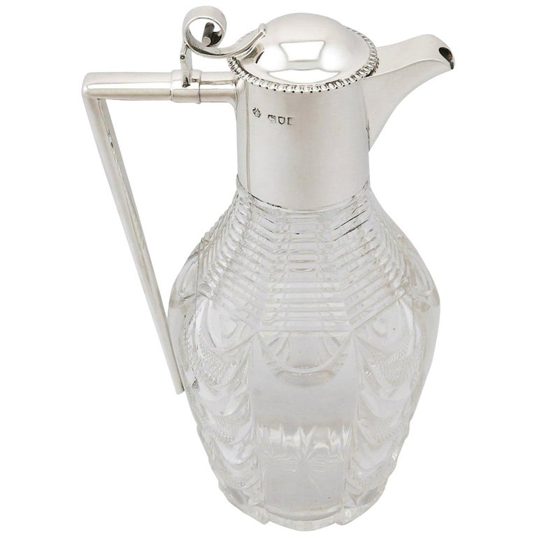 Edwardian Cut Glass and Sterling Silver Mounted Claret Jug For Sale
