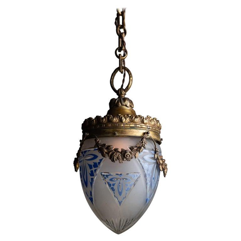Edwardian Cut Glass Pendant, England circa 1910 For Sale