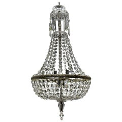 Edwardian Cut Glass Tent and Waterfall Chandelier