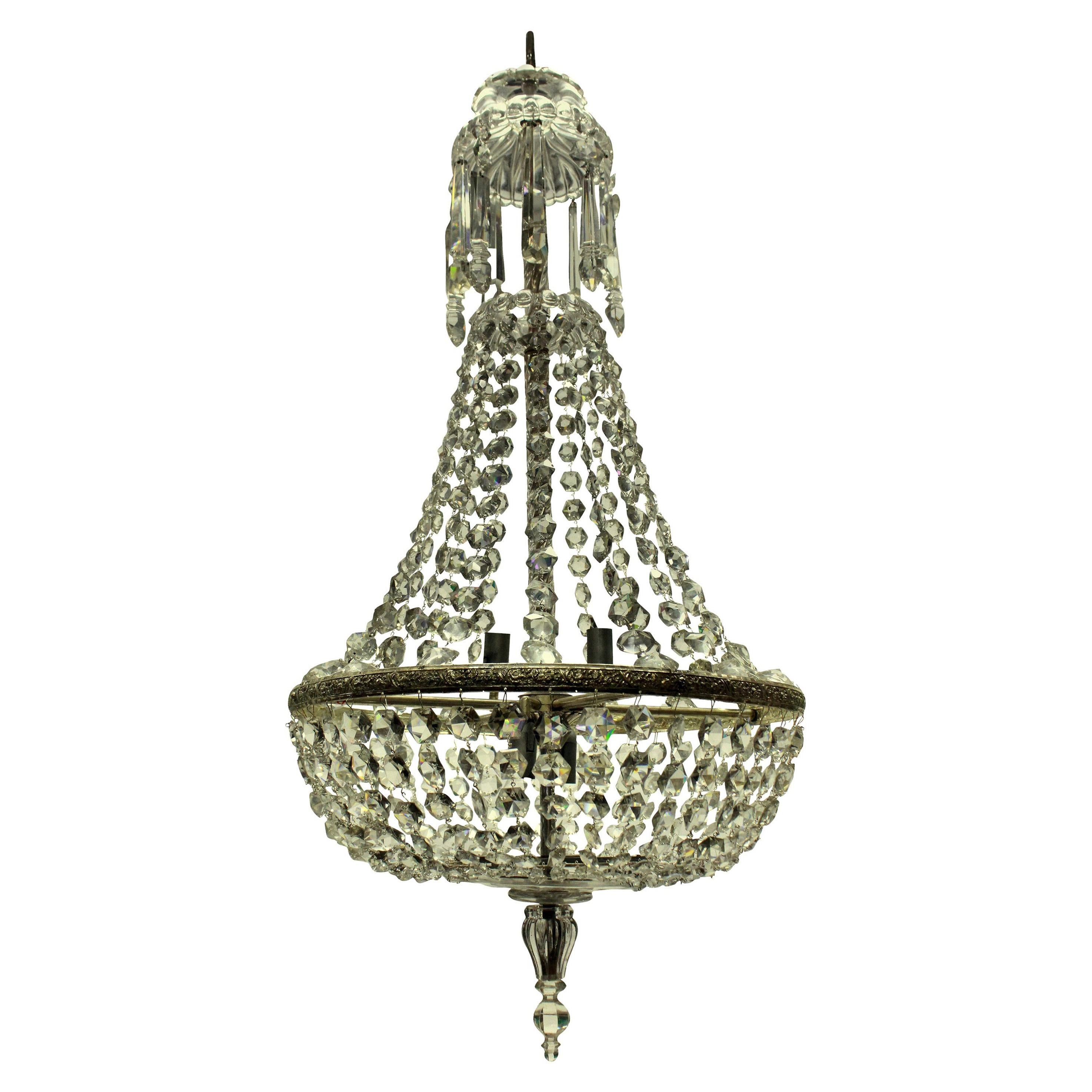 Edwardian Cut-Glass Tent and Waterfall Chandelier