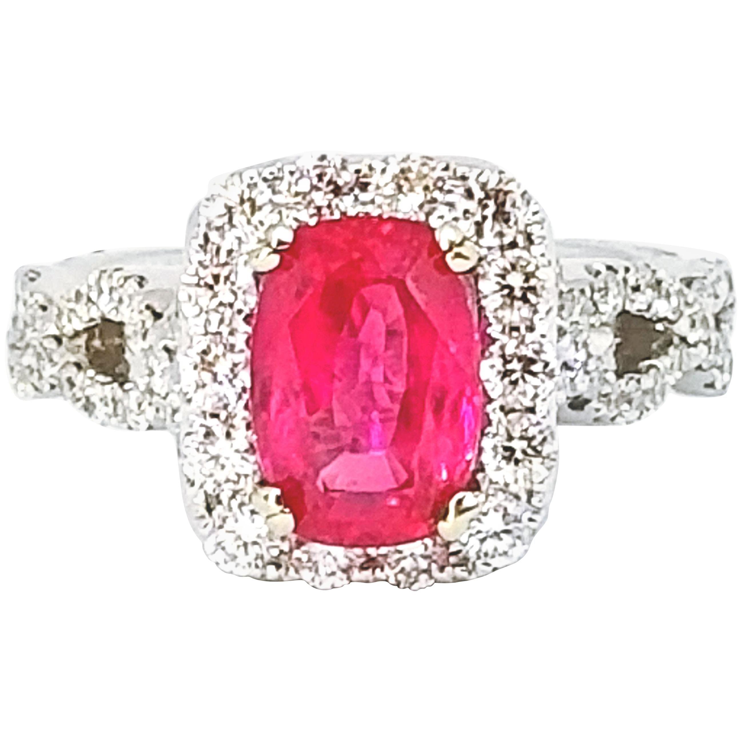Edwardian Cut Intense Pink 2.19 Carat Sapphire Diamond Halo Ring White Gold