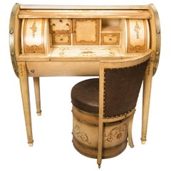 Edwardian Cylinder Desk and Chair Set, 20th Century