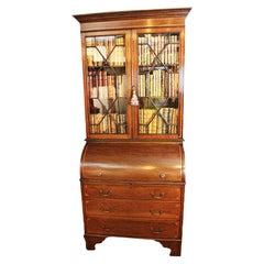 Edwardian Cylinder Desk Bookcase / Secretary